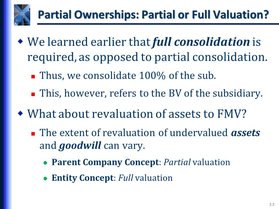 5-5 Partial Ownerships: Partial or Full Valuation.
