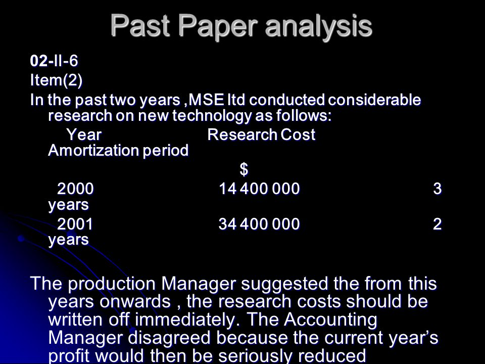 Past Paper analysis 02- Ⅱ -6 Item(2) In the past two years,MSE ltd conducted considerable research on new technology as follows: Year Research Cost Amortization period Year Research Cost Amortization period $ 2000 14 400 000 3 years 2000 14 400 000 3 years 2001 34 400 000 2 years 2001 34 400 000 2 years The production Manager suggested the from this years onwards, the research costs should be written off immediately.