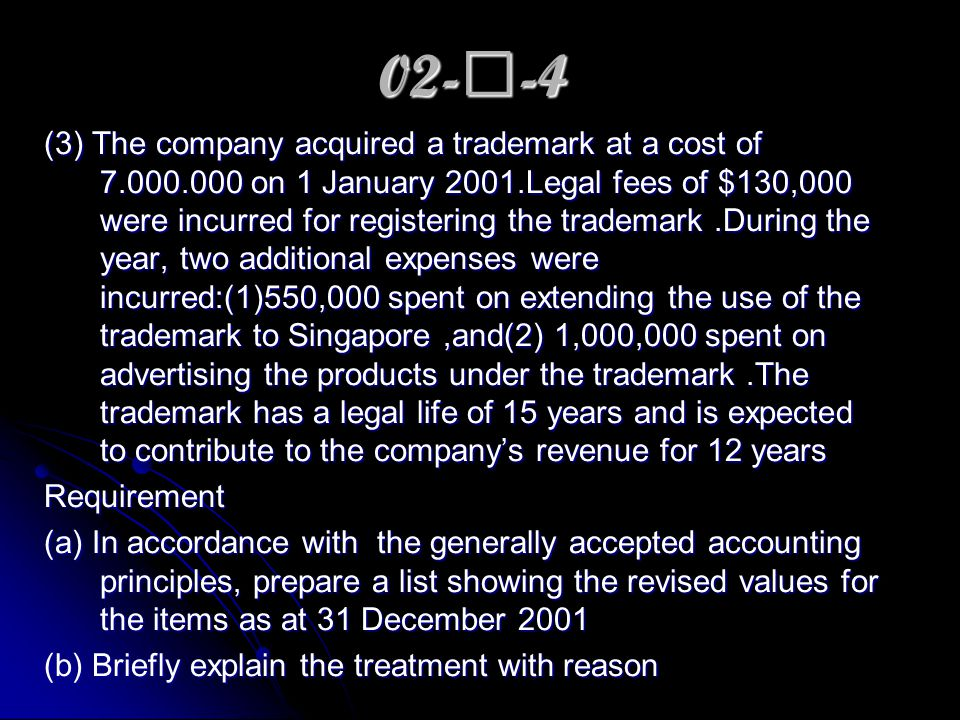 02- Ⅱ -4 (3) The company acquired a trademark at a cost of 7.000.000 on 1 January 2001.Legal fees of $130,000 were incurred for registering the trademark.During the year, two additional expenses were incurred:(1)550,000 spent on extending the use of the trademark to Singapore,and(2) 1,000,000 spent on advertising the products under the trademark.The trademark has a legal life of 15 years and is expected to contribute to the company's revenue for 12 years Requirement (a) In accordance with the generally accepted accounting principles, prepare a list showing the revised values for the items as at 31 December 2001 (b) Briefly explain the treatment with reason