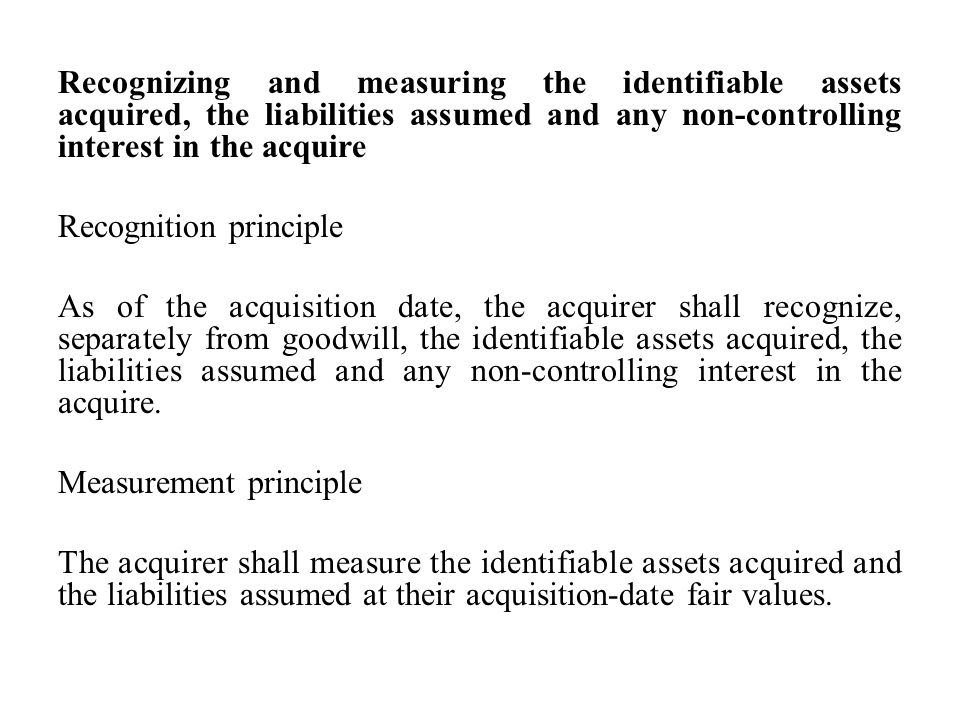Recognizing and measuring goodwill or a gain from a bargain purchase The acquirer shall recognize goodwill as of the acquisition date measured as the excess of (a) over (b) below: (a) the aggregate of: i.the consideration transferred measured in accordance with this SLFRS, which generally requires acquisition-date fair value.