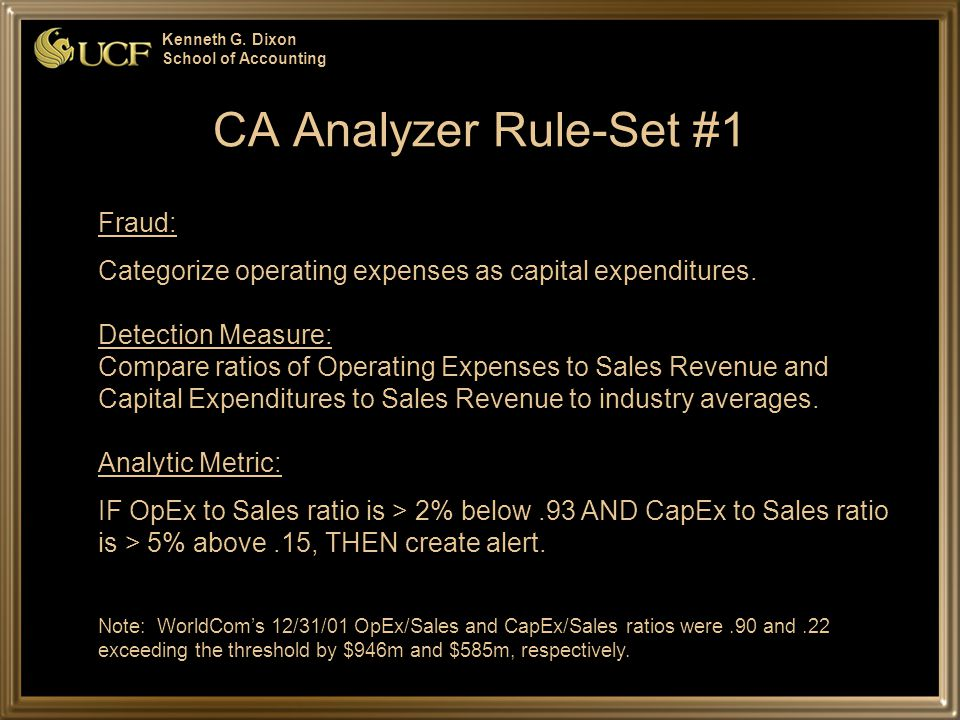 Kenneth G. Dixon School of Accounting CA Analyzer Rule-Set #1 Fraud: Categorize operating expenses as capital expenditures. Detection Measure: Compare