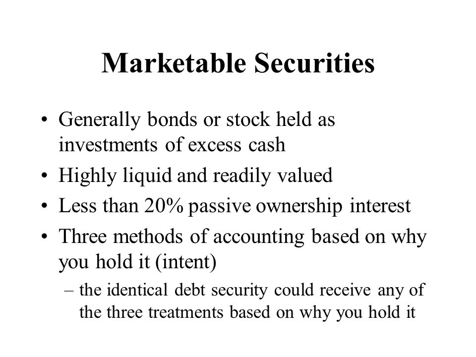 Numbers from Problem 11.22, Security M At acquisition, recorded at cost Marketable Sec.