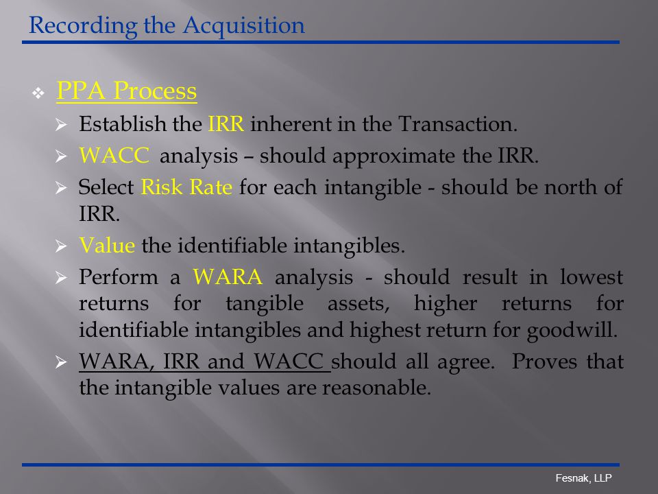 Fesnak, LLP  PPA Process  Establish the IRR inherent in the Transaction.