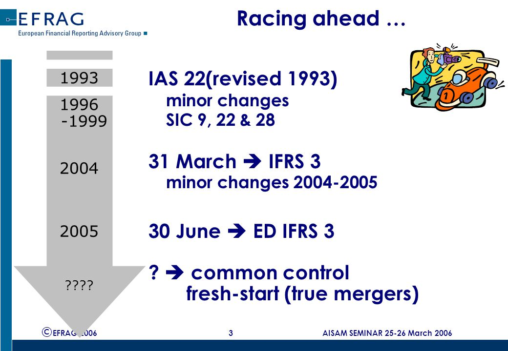 © EFRAG 2006 4 AISAM SEMINAR 25-26 March 2006 ED IFRS 3 – Phase II  Issued 30 June 2005  Joint project with US standard setter FASB  Objective = improvement and convergence IASB/FASB  Consequential amendments to IAS 27, 37 and 19  Completely new method of treating:  Business combinations  Minority interests (now: non-controlling interests)  Contingent assets and liabilities