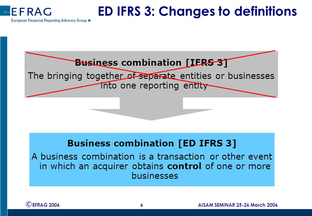 © EFRAG 2006 6 AISAM SEMINAR 25-26 March 2006 ED IFRS 3: Changes to definitions Business combination [IFRS 3] The bringing together of separate entities or businesses into one reporting entity Business combination [ED IFRS 3] A business combination is a transaction or other event in which an acquirer obtains control of one or more businesses