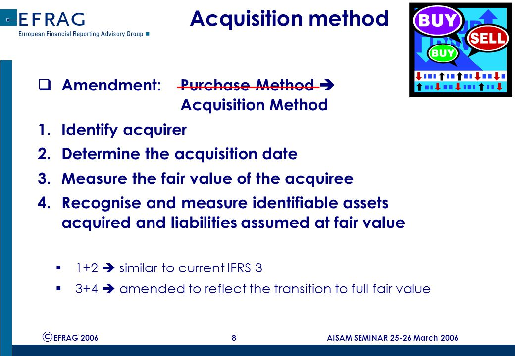 © EFRAG 2006 8 AISAM SEMINAR 25-26 March 2006 Acquisition method  Amendment: Purchase Method  Acquisition Method 1.Identify acquirer 2.Determine the acquisition date 3.Measure the fair value of the acquiree 4.Recognise and measure identifiable assets acquired and liabilities assumed at fair value  1+2  similar to current IFRS 3  3+4  amended to reflect the transition to full fair value