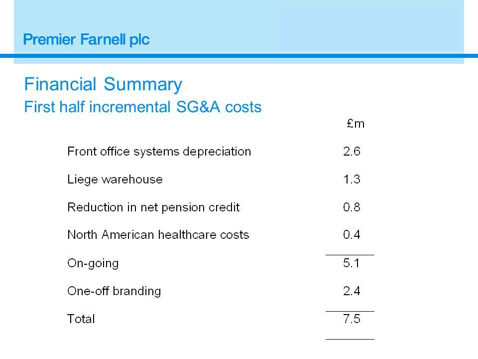 Financial Summary First half incremental SG&A costs