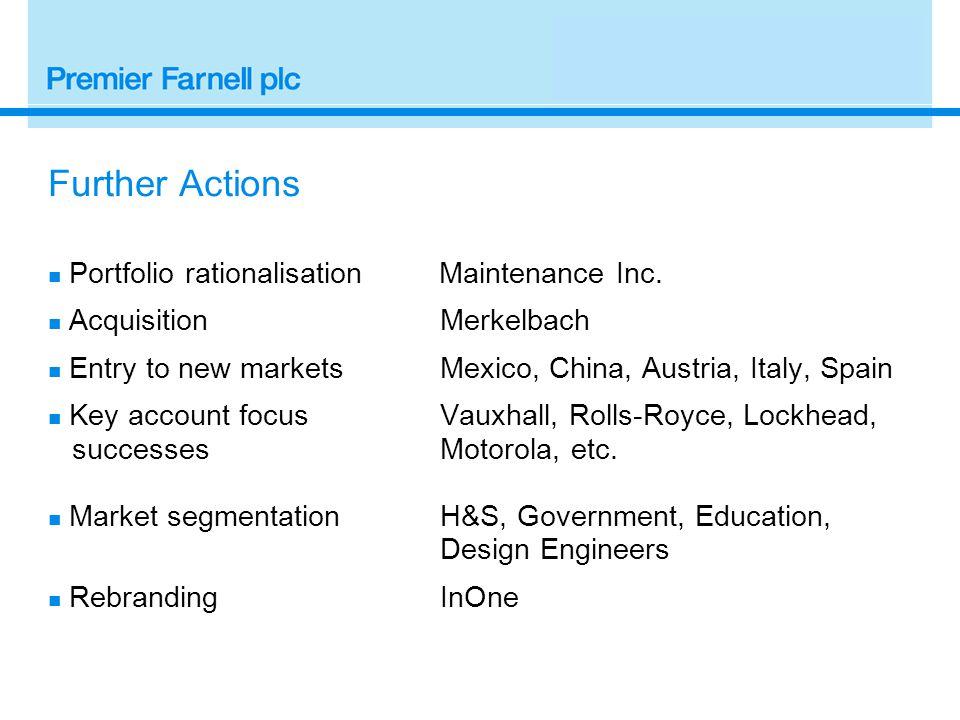 Further Actions Portfolio rationalisation Maintenance Inc.