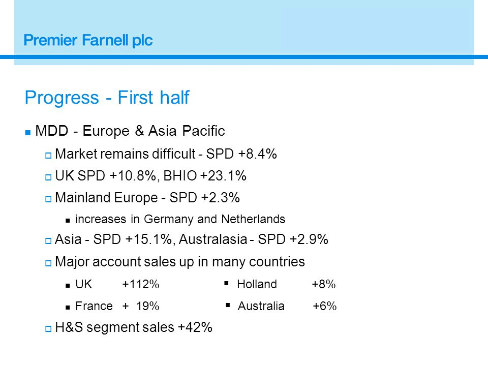 Progress - First half MDD - Europe & Asia Pacific  Market remains difficult - SPD +8.4%  UK SPD +10.8%, BHIO +23.1%  Mainland Europe - SPD +2.3% increases in Germany and Netherlands  Asia - SPD +15.1%, Australasia - SPD +2.9%  Major account sales up in many countries UK+112%  Holland +8% France+ 19%  Australia +6%  H&S segment sales +42%