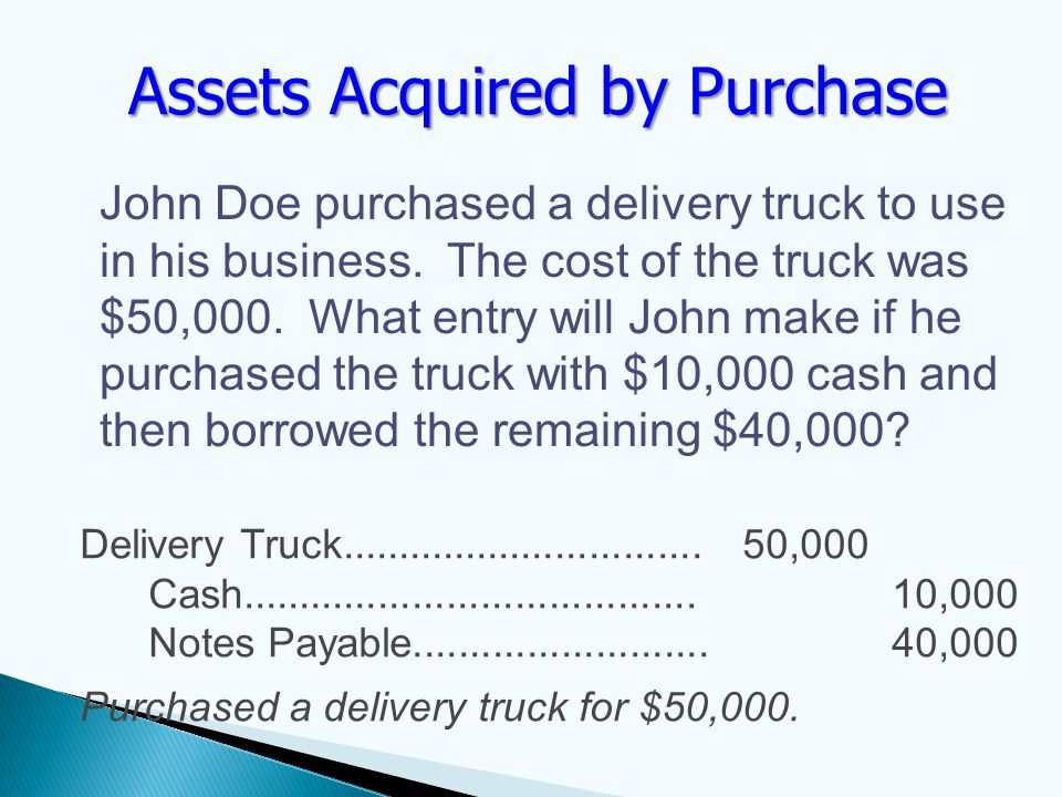John Doe purchased a delivery truck to use in his business.