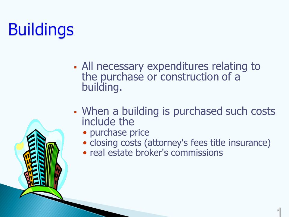 1515  All necessary expenditures relating to the purchase or construction of a building.