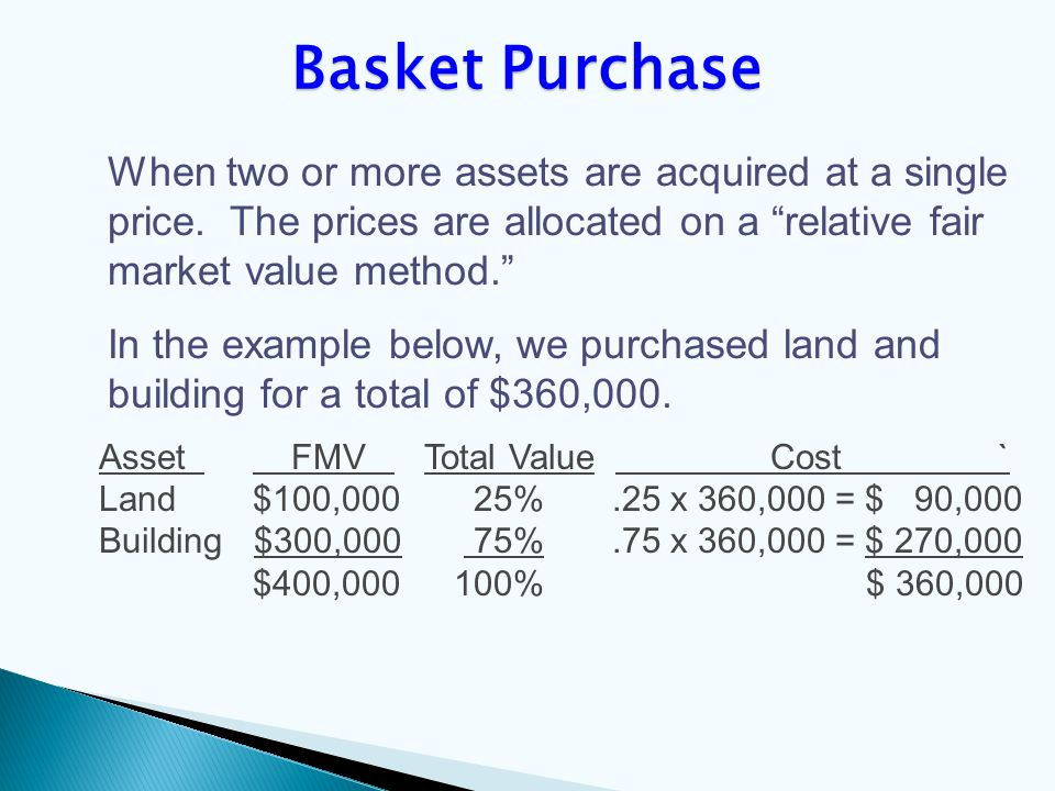 When two or more assets are acquired at a single price.