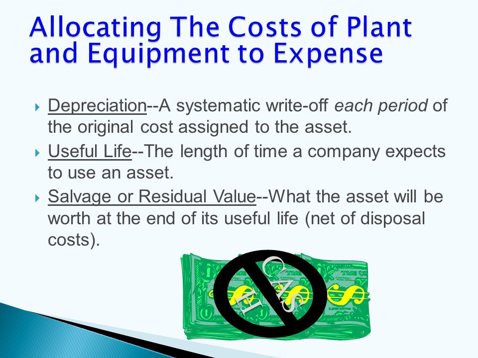  Depreciation--A systematic write-off each period of the original cost assigned to the asset.