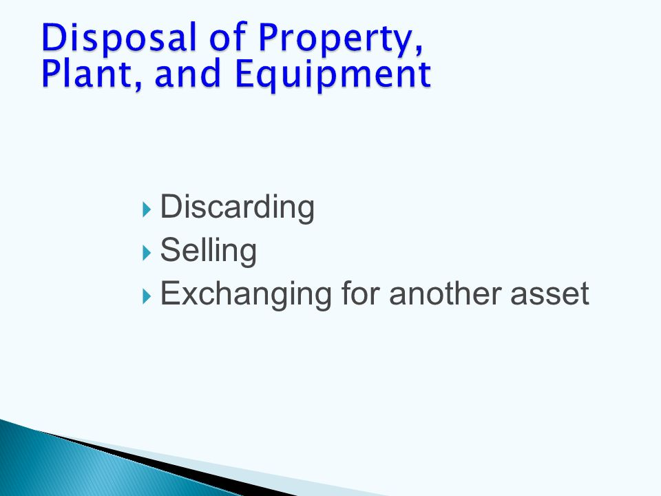  Discarding  Selling  Exchanging for another asset