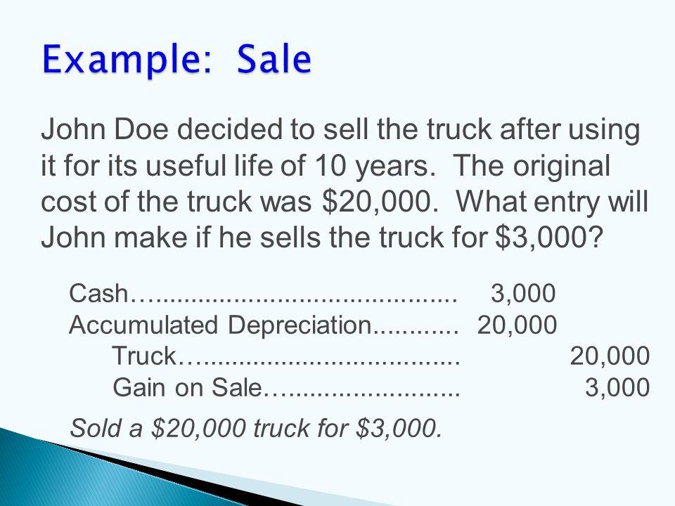 Cash….......................................... 3,000 Accumulated Depreciation............ 20,000 Truck….................................... 20,000 Ga