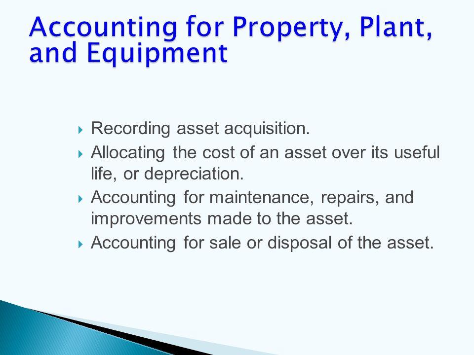  Recording asset acquisition.