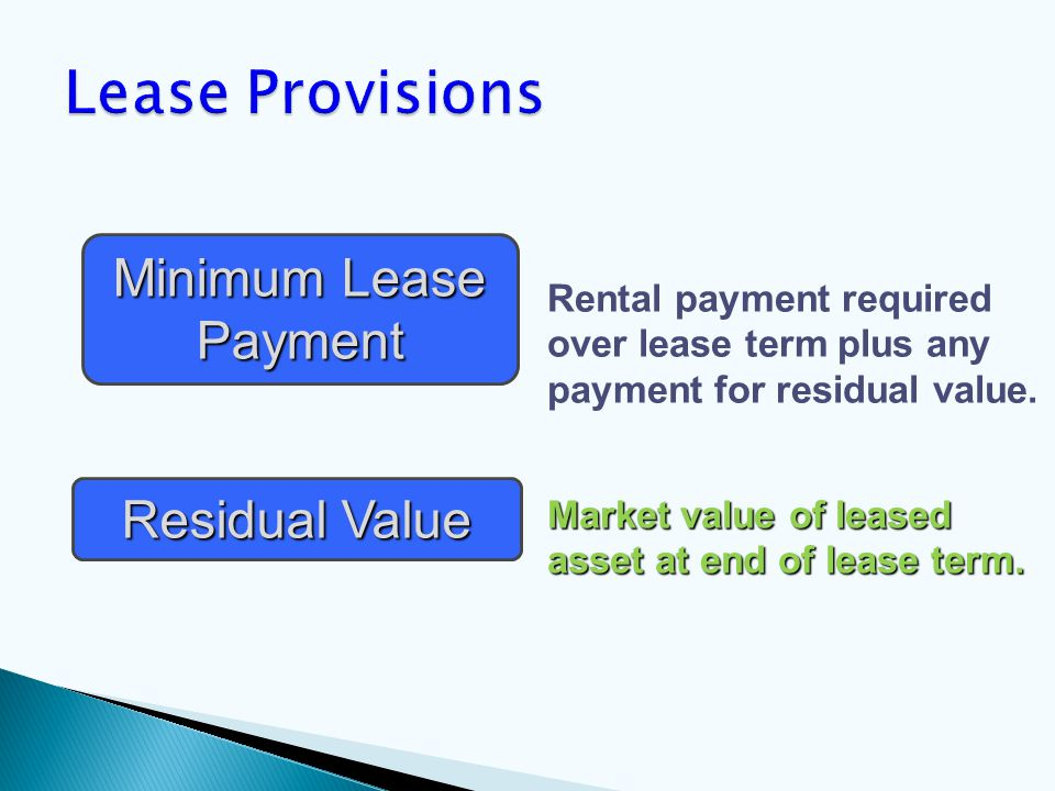 Rental payment required over lease term plus any payment for residual value.