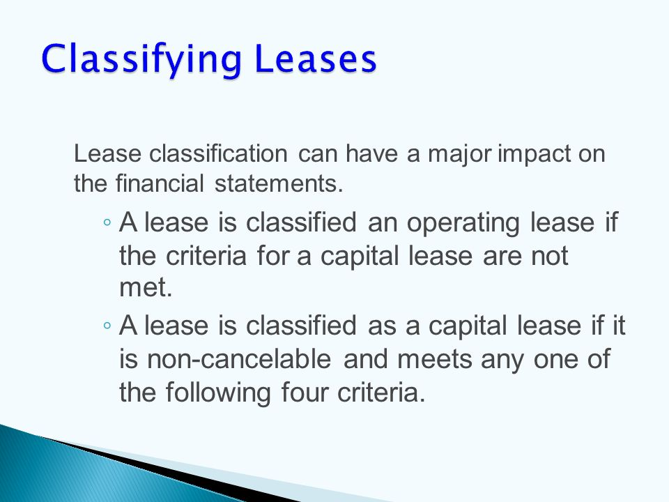 Lease classification can have a major impact on the financial statements.