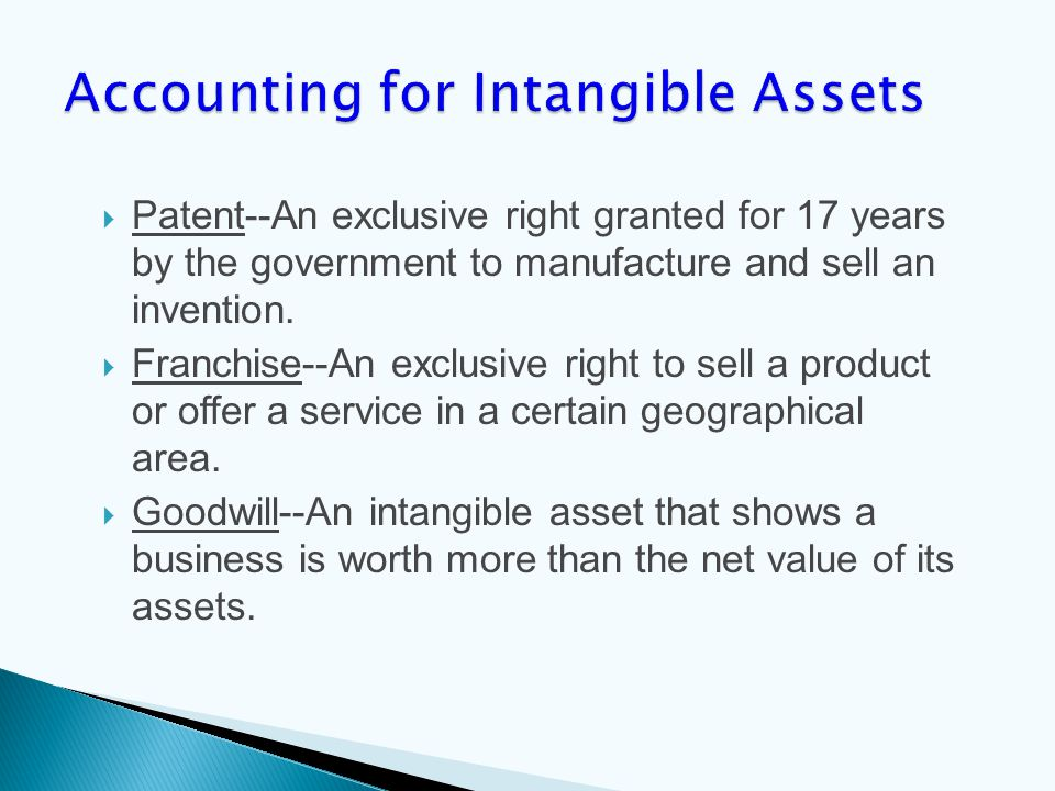  Patent--An exclusive right granted for 17 years by the government to manufacture and sell an invention.  Franchise--An exclusive right to sell a pr