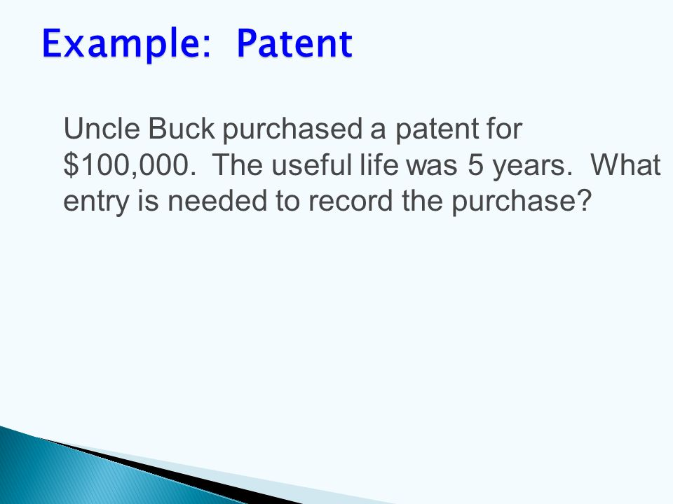 Uncle Buck purchased a patent for $100,000. The useful life was 5 years.