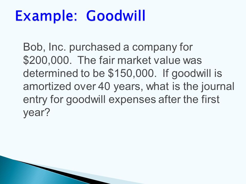 Bob, Inc. purchased a company for $200,000. The fair market value was determined to be $150,000.