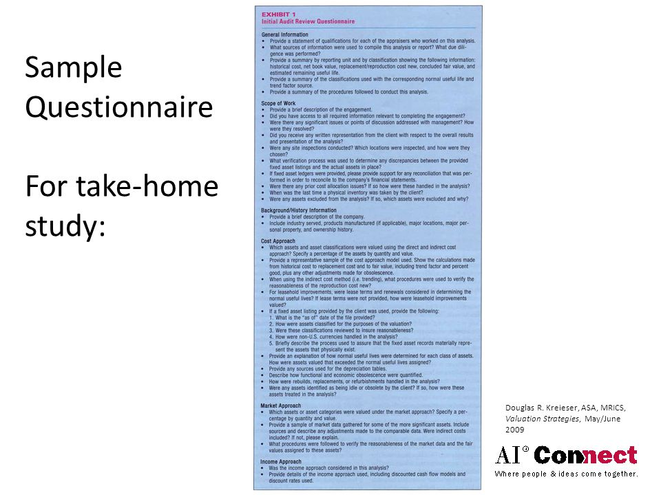 Sample Questionnaire For take-home study: Douglas R.