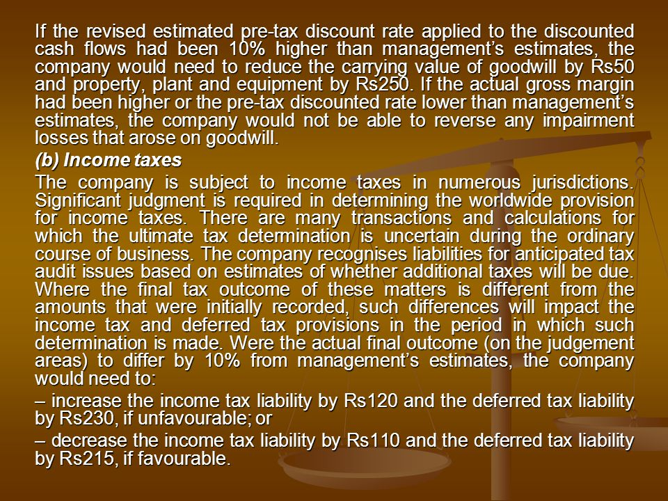 If the revised estimated pre-tax discount rate applied to the discounted cash flows had been 10% higher than management's estimates, the company would