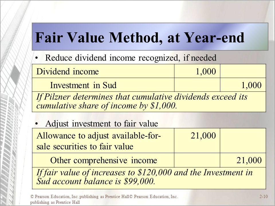 © Pearson Education, Inc. publishing as Prentice Hall© Pearson Education, Inc. publishing as Prentice Hall 2-10 Fair Value Method, at Year-end Reduce