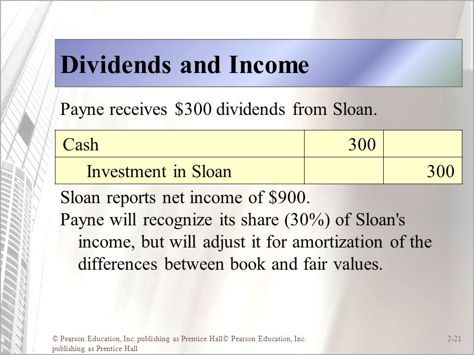 © Pearson Education, Inc. publishing as Prentice Hall© Pearson Education, Inc. publishing as Prentice Hall 2-21 Dividends and Income Payne receives $3