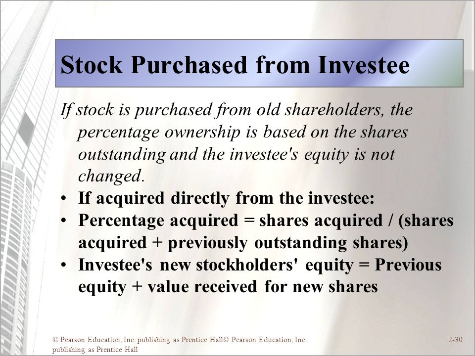 © Pearson Education, Inc. publishing as Prentice Hall© Pearson Education, Inc. publishing as Prentice Hall 2-30 Stock Purchased from Investee If stock