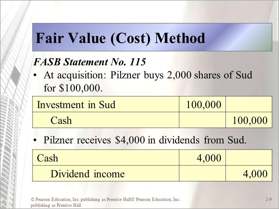 © Pearson Education, Inc. publishing as Prentice Hall© Pearson Education, Inc. publishing as Prentice Hall 2-9 Fair Value (Cost) Method FASB Statement