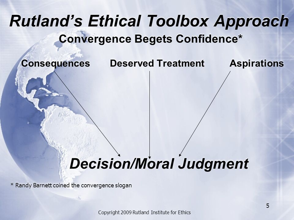 Copyright 2009 Rutland Institute for Ethics 5 Rutland's Ethical Toolbox Approach Convergence Begets Confidence* Consequences Deserved Treatment Aspirations Decision/Moral Judgment * Randy Barnett coined the convergence slogan Consequences Deserved Treatment Aspirations Decision/Moral Judgment * Randy Barnett coined the convergence slogan