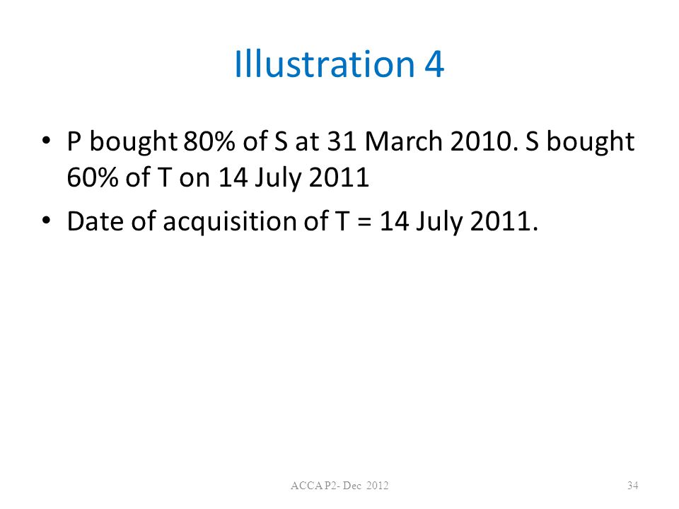 Illustration 4 P bought 80% of S at 31 March 2010.