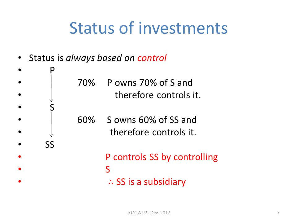 Status of investments Status is always based on control P 70% P owns 70% of S and therefore controls it. S 60%S owns 60% of SS and therefore controls