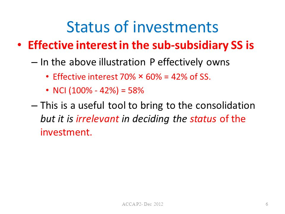 Status of investments Effective interest in the sub-subsidiary SS is – In the above illustration P effectively owns Effective interest 70% × 60% = 42% of SS.