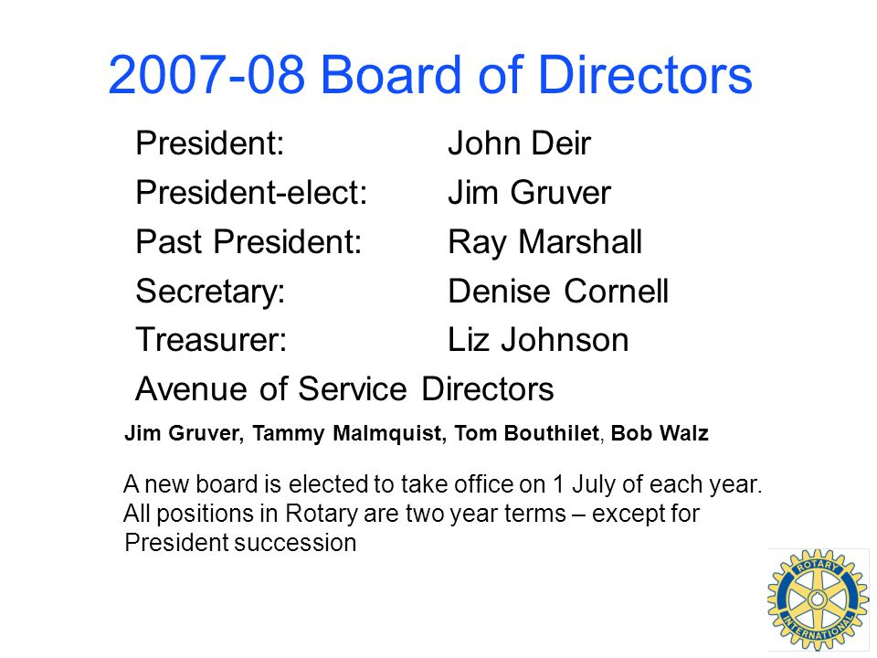 2007-08 Board of Directors President:John Deir President-elect:Jim Gruver Past President:Ray Marshall Secretary:Denise Cornell Treasurer:Liz Johnson A