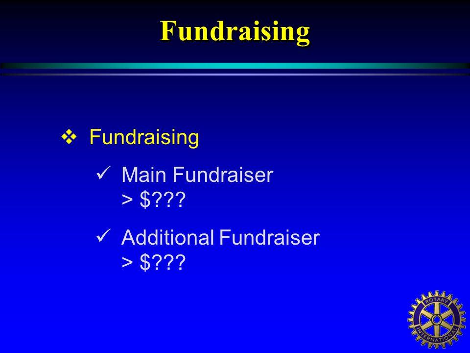  Fundraising Main Fundraiser > $??? Additional Fundraiser > $???Fundraising