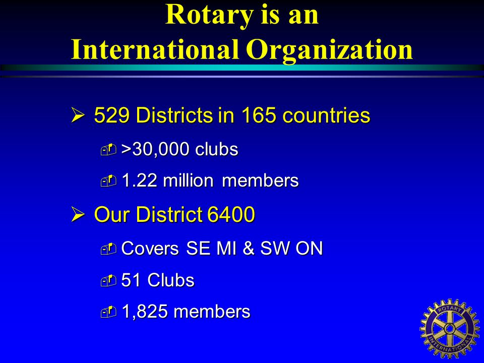 Club Constitutions  Rotary Clubs are governed by a Standard Club Constitution only amended by the Council on Legislation – Rotary's Parliament - which meets every 3 years.