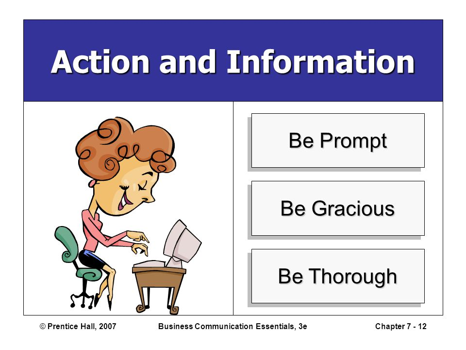 © Prentice Hall, 2007Business Communication Essentials, 3eChapter 7 - 12 Action and Information Be Prompt Be Gracious Be Thorough
