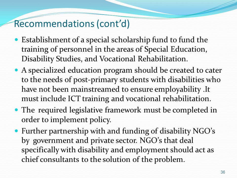 Recommendations (cont'd) Establishment of a special scholarship fund to fund the training of personnel in the areas of Special Education, Disability S