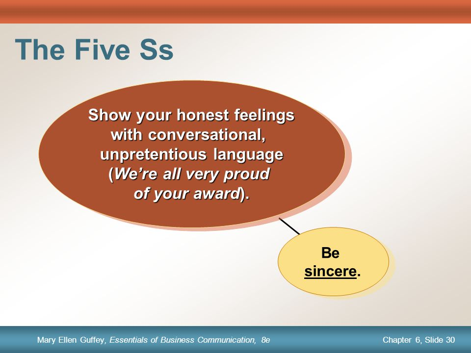 Chapter 1, Slide 30 Mary Ellen Guffey, Essentials of Business Communication, 8e Chapter 6, Slide 30 Mary Ellen Guffey, Essentials of Business Communication, 8e Be sincere.