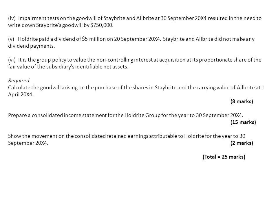 (iv) Impairment tests on the goodwill of Staybrite and Allbrite at 30 September 20X4 resulted in the need to write down Staybrite's goodwill by $750,0