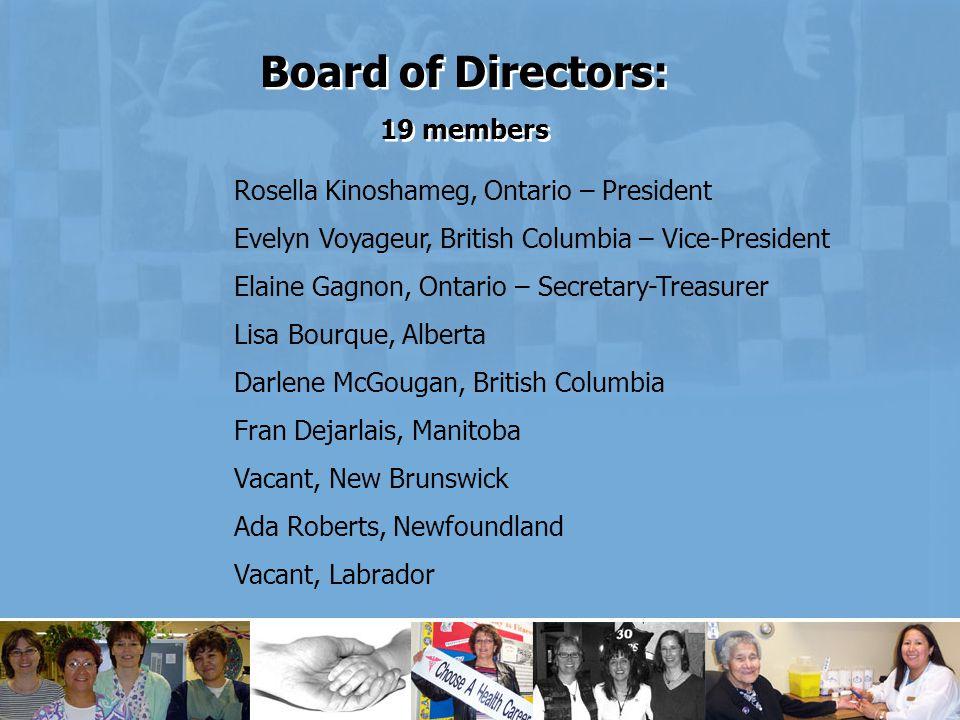 Rosella Kinoshameg, Ontario – President Evelyn Voyageur, British Columbia – Vice-President Elaine Gagnon, Ontario – Secretary-Treasurer Lisa Bourque, Alberta Darlene McGougan, British Columbia Fran Dejarlais, Manitoba Vacant, New Brunswick Ada Roberts, Newfoundland Vacant, Labrador Board of Directors: 19 members Board of Directors: 19 members