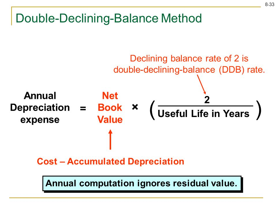 8-33 Double-Declining-Balance Method Annual Depreciation expense Net Book Value () Useful Life in Years 2 = × Cost – Accumulated Depreciation Declining balance rate of 2 is double-declining-balance (DDB) rate.