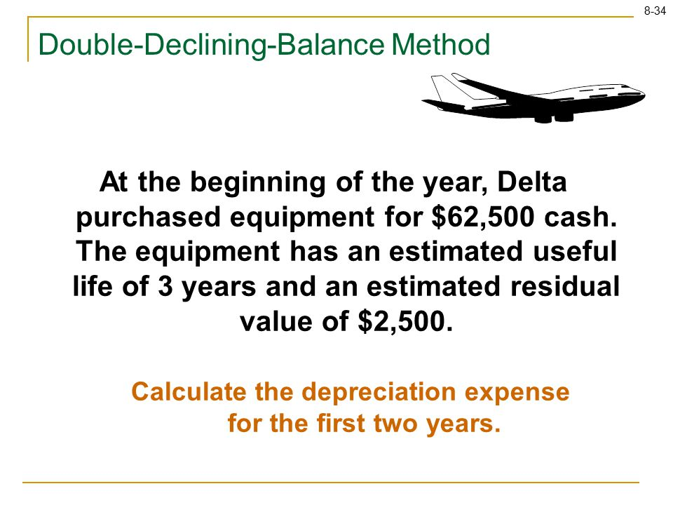8-34 At the beginning of the year, Delta purchased equipment for $62,500 cash. The equipment has an estimated useful life of 3 years and an estimated