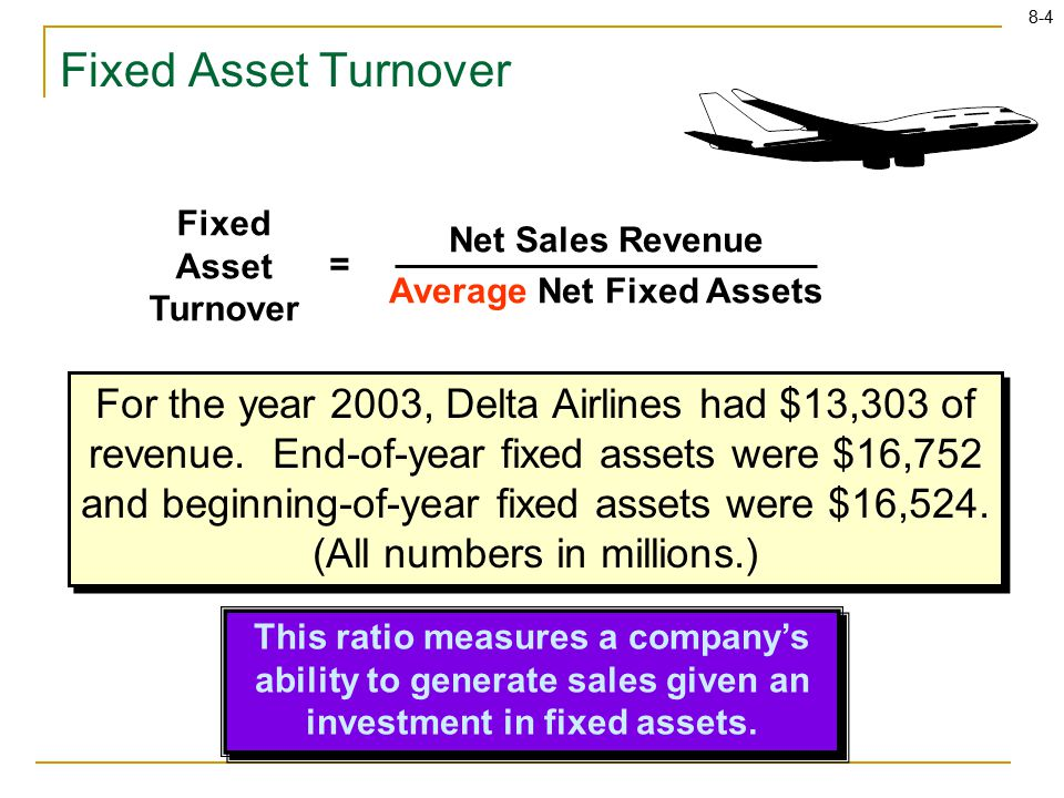 8-4 Fixed Asset Turnover Net Sales Revenue Average Net Fixed Assets = This ratio measures a company's ability to generate sales given an investment in fixed assets.