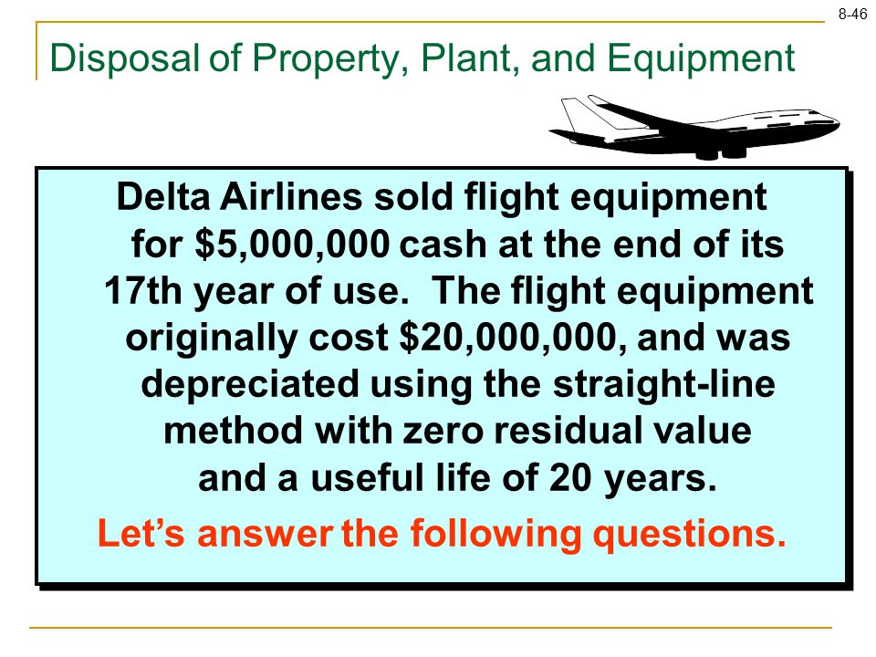 8-46 Delta Airlines sold flight equipment for $5,000,000 cash at the end of its 17th year of use. The flight equipment originally cost $20,000,000, an