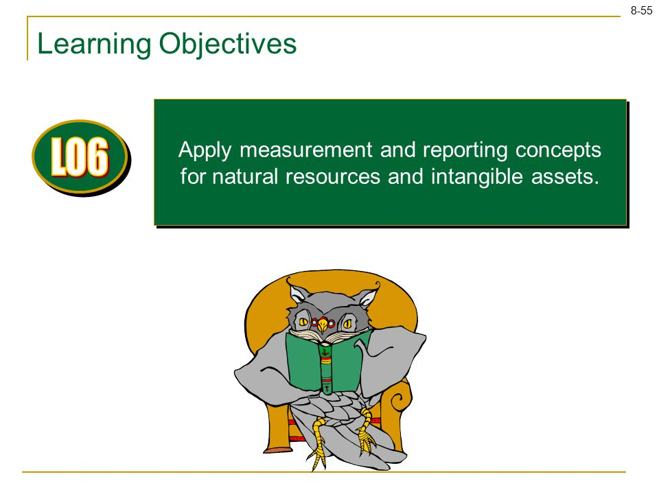 8-55 Learning Objectives Apply measurement and reporting concepts for natural resources and intangible assets.