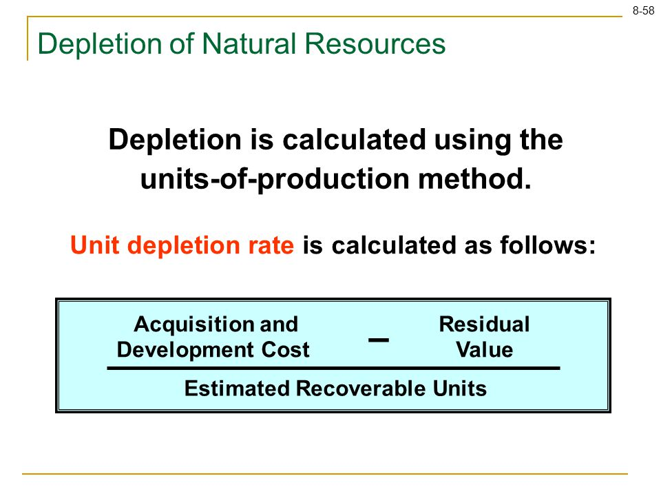 8-58 Depletion of Natural Resources Depletion is calculated using the units-of-production method.