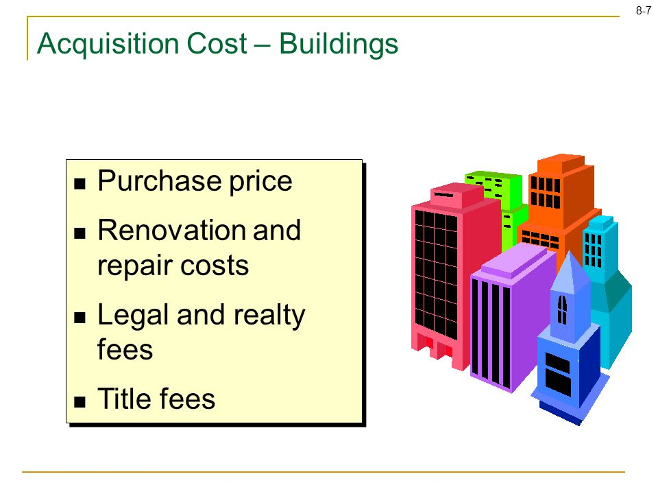 8-7 Purchase price Renovation and repair costs Legal and realty fees Title fees Purchase price Renovation and repair costs Legal and realty fees Title